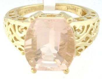 5153: 659210 10KY 3ct Rose Quartz Checkerboard ring