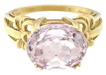 5155: 653254 14KY 3.50ct Kunzite oval sideset ring