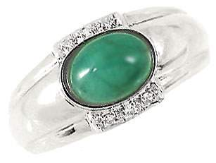 111602 WG 1.33ct emerald cabachon oval diamond ri