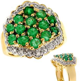 171166 1.85cttw Emerald cluster pavé wide band ri