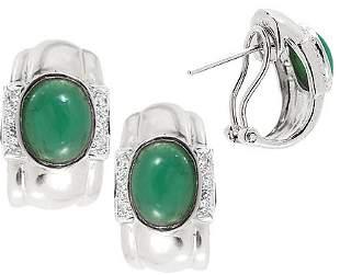 131602 2.20ct emerald cabachon oval diamond earri