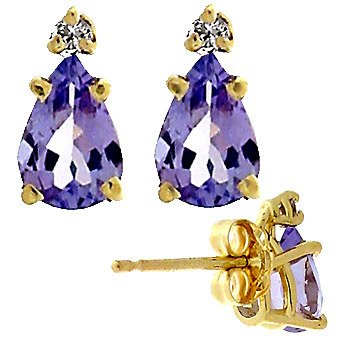5159: 121430 3/4ctw+ Pear Tanzanite/Diamond Stud Earrin