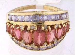 653880 14KY 2ct Pink tourmaline Tanzanite band ri
