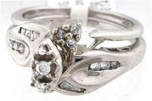 659104 14WG .18ct Diamond 2pc wedding set ring