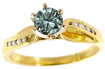 5166: 650069 18kt .44ct Teal Diamond 1/8ct Diamond ring