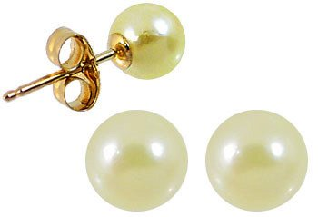 5169A: 432016 5.5/6mm Golden Akoya Pearl Stud earring