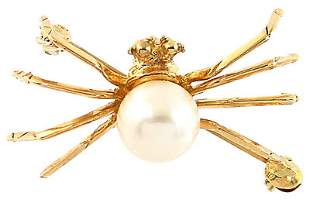 610011 10YG 7mm white pearl spider pin