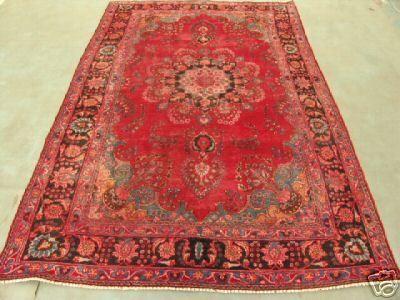 6440s Semi Antique Rugs Persian Mashad Rug 9x6