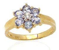 200: 104100 1.15ct Sapphire & white Sapphire flower rin