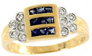 103746 14KY .60ct sapphire princess .16dia channel