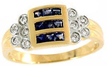 201: 103746 14KY .60ct sapphire princess .16dia channel