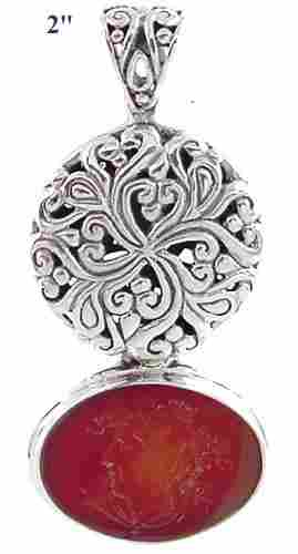 222471 Silver Carved Carnelian Helenic Intaglio Sl