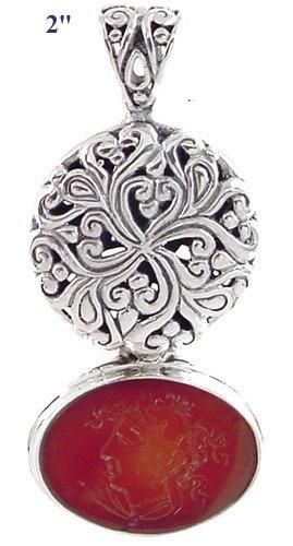 203: 222471 Silver Carved Carnelian Helenic Intaglio Sl