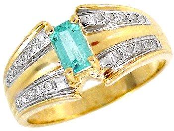 210: 104180 .50ct Columbian Emerald .10 diamond ring