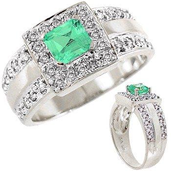 211: 111646 WG .60ct Columbian Emerald square .29dia ri