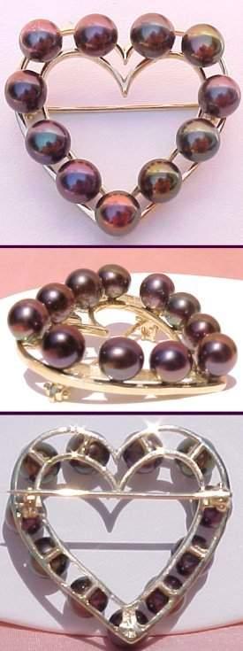 410440 14KT 5.5mm Black Pearl Brooch - 11 Pearls