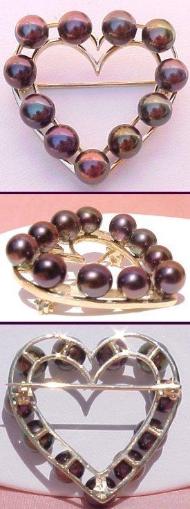 212: 410440 14KT 5.5mm Black Pearl Brooch - 11 Pearls
