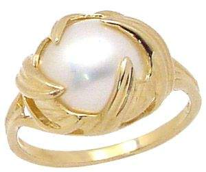 632691 14KY 12mm white mabé pearl swirl ring