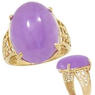 659212 14KY 15x20mm Lavender Jade cabachon ring