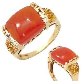 681006 14KY orange Jade citrine ring
