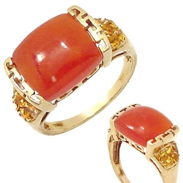 216: 681006 14KY orange Jade citrine ring