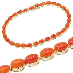 100567 14KY 10ct Italian CORAL bezel bracelet 7.5i