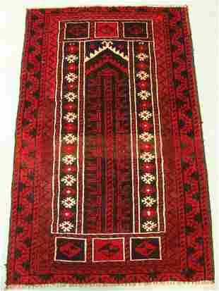 9477 Semi Antique Rugs Persian Prayer Baloch Rug 4