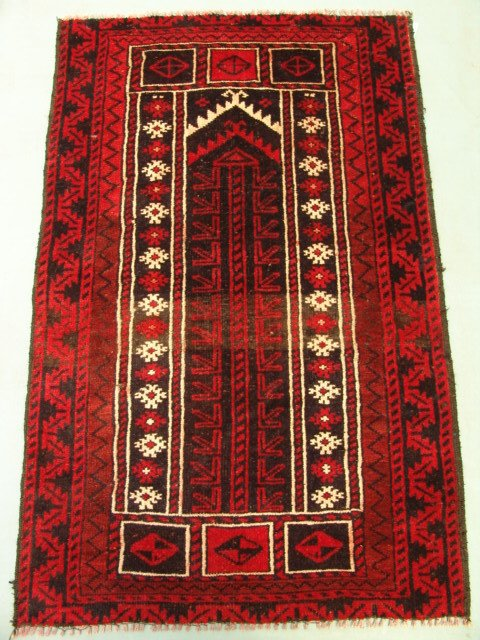 218: 9477 Semi Antique Rugs Persian Prayer Baloch Rug 4