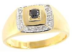 286: 124090 14KY .22ct black white diamond mans ring