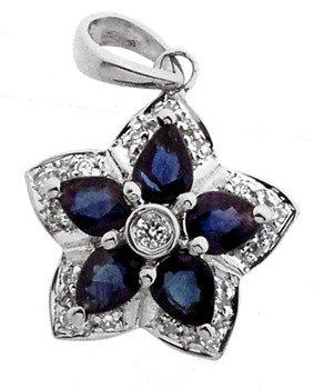 100: 14KW 1cttw Sapphire Diamond flower Pendant