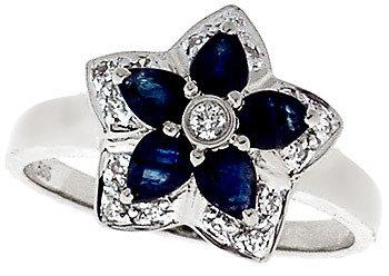 101: 14KW 1cttw Sapphire pear Diamond flower ring