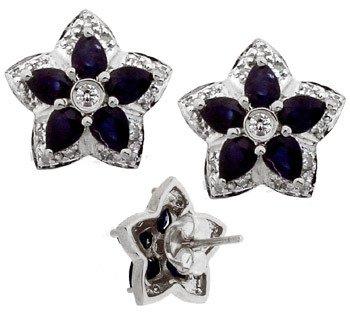 102: 14KW 2.25cttw Sapphire Diamond flower earring