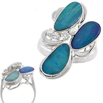 104: WG 3ct 3 Boulder opal .20 white sapphire ring