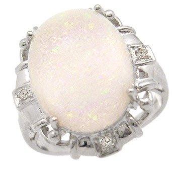 105: 14KW 3.80ct Australian Opal .03 diamond ring