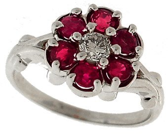 107: 14k WG 1ct Ruby & Diamond Flower Ring