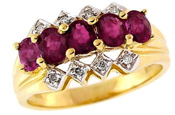108: 14KY 1.25ct Ruby diamond 5 oval band ring