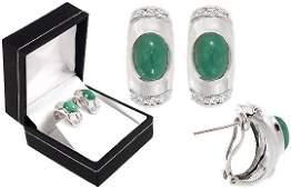157: WG 2.80ct emerald cabachon diamond earring