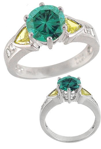 166: WG 1.63ct Blue Diamond canary/white dia ring