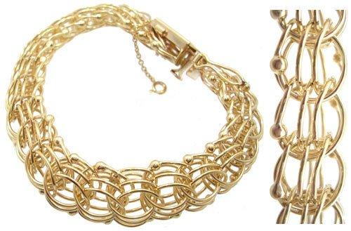 193: 14KY Circle charm 33.7 gram Bracelet 7.5inch