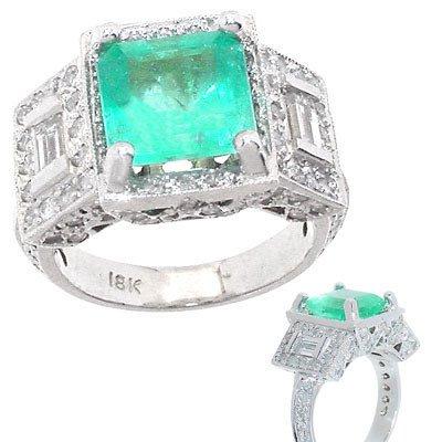 2092: 18KW 3.30ct Columbian Emerald 1.70 dia ring
