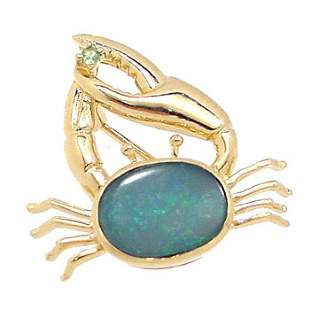 14KY 2ct Boulder Opal Tsavorite crab Pin/Pendant