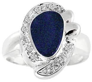 WG 1.10ct Boulder Opal .09diamond ring