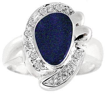 3009: WG 1.10ct Boulder Opal .09diamond ring