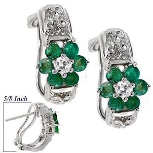 WG.85ct Emerald White Sapphire flower earring