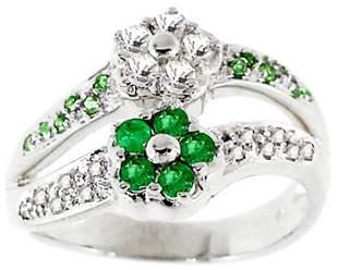 WG .60ct emerald white sapphire flower ring