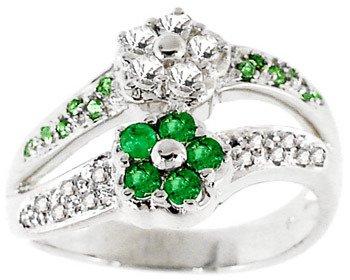 3017: WG .60ct emerald white sapphire flower ring