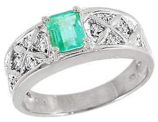 WG .60ct Columbian Emerald .06 diamond ring