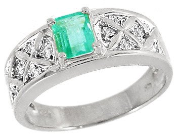3018: WG .60ct Columbian Emerald .06 diamond ring
