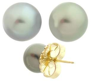 9mm Tahitian pearl round stud earring