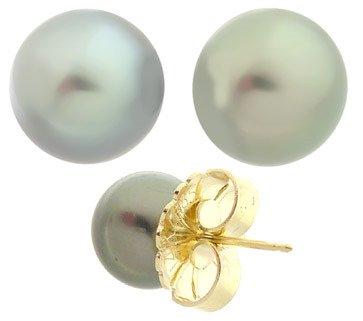 3020: 9mm Tahitian pearl round stud earring